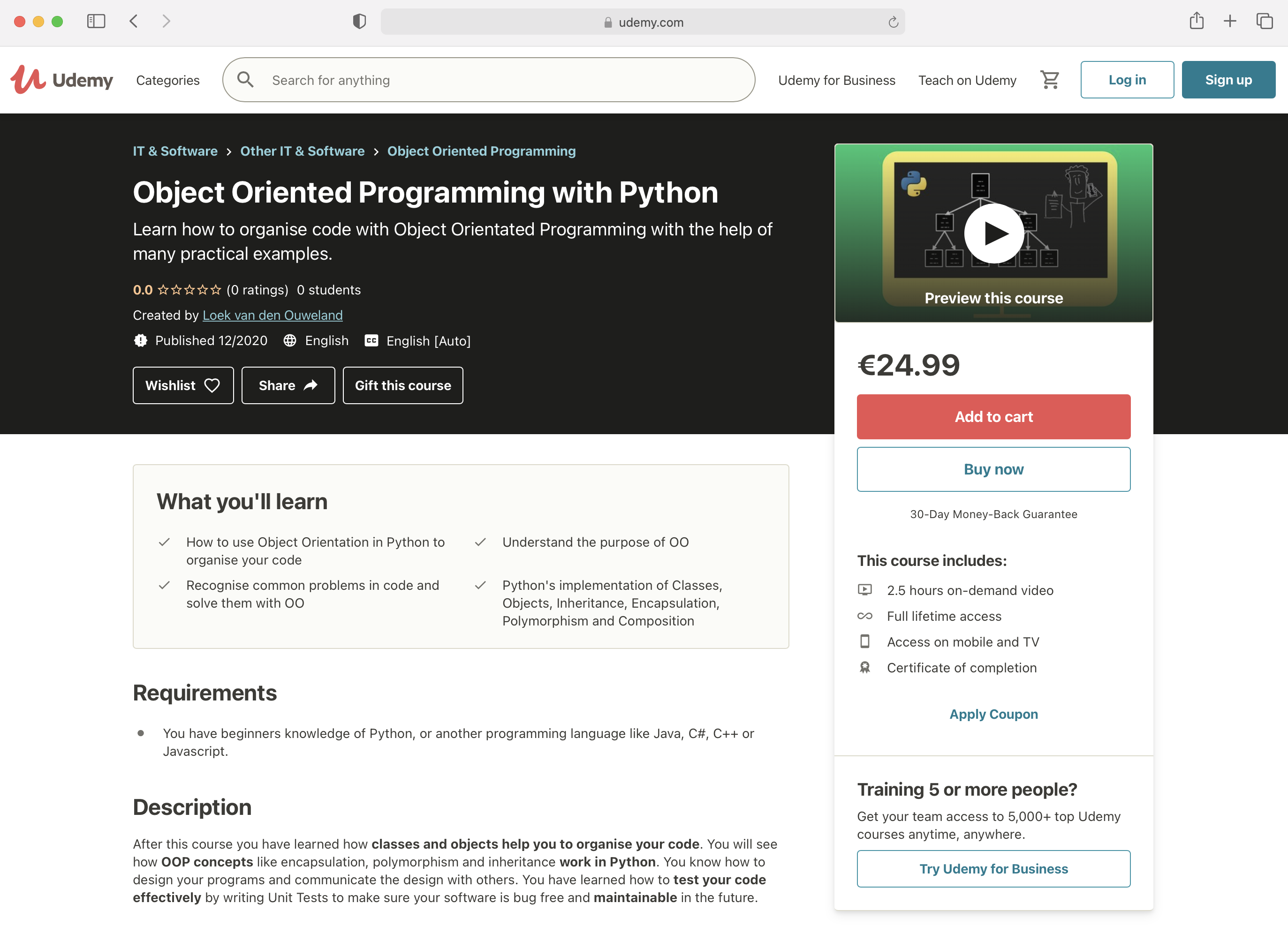 Object oriented programming in Python on Udemy